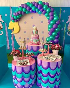 There are many ideas for your baby birthday party, balloon decorations are Baby Birthday Themes, Birthday Balloon Decorations, Birthday Balloons, Birthday Celebration, Girl Birthday, Birthday Parties, Little Mermaid Parties, Baby Shower Balloons, Partys
