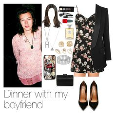 """""""Dinner with Harry"""" by myllenna-malik ❤ liked on Polyvore featuring Forever 21, Topshop, Pierre Balmain, Bobbi Brown Cosmetics, OPI, Jeffrey Campbell, Chanel, Dorothy Perkins, Vince Camuto and Jimmy Choo"""