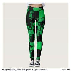 Grunge squares, black and green bricks pattern leggings