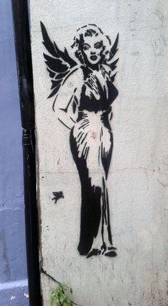 Marilyn with wings,London, Islington Graffiti, Moose Art, Street, Animals, London, Murals, Wings, Animales, Animaux