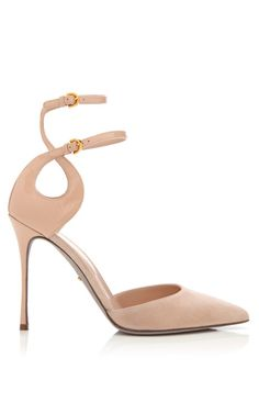 Shop Turbillon Suede and Patent Leather Pumps by Sergio Rossi Now Available on Moda Operandi