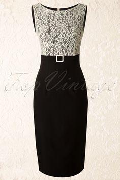 Daisy Dapper - 50s Vicky Pencil Dress in Black