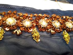 Sari Borte dunkelblau, Pailletten Glitzer Perlen Stoff, Sari, 4 Stück Chiffon Sari Borte bestickt bronze, jli kurdi Kurdistan, Chiffon, Brooch, Princess, Dress, Etsy, Jewelry, Fashion, Sequins