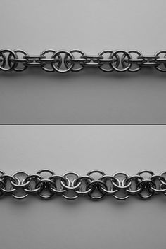 "CHAINMAILLE WEAVES AND PATTERNS HARVEST MOON CHAIN RECOGNIZED BY THE M.A.I.L. COMMUNITY AS A WEAVE. A BASIC CHAIN MIXING 2 IN 1 AND 3 IN 1 CONNECTIONS. PICTURE SHOWS: 16SWG 9/32"" ID"