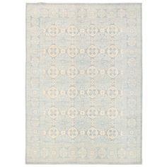 Herat Oriental Afghan Hand-knotted Vegetable Dye Khotan Wool Rug (9' x 12'5) (Handmade Khotan Wool Rug), Blue (Natural Fiber, Geometric)