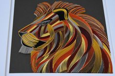 Art Quilling, Quilling Animals, Quilled Paper Art, Quilling Designs, Abstract Wolf, Abstract Wall Art, Gold Acrylic Paint, Lion, Paper Wall Art