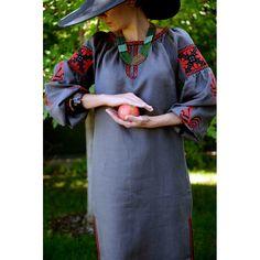 Плаття сіре з червоними півнями D17