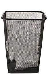 The Best Office Trash Can | Unless you often eat at your desk and can't bring the scraps to your kitchen, all you need for an office trash can is something that fits your space and looks nice enough. The Brighton Professional Black Wire Mesh Square Wastebasket at Staples looks better than any other trash can that costs less than $10. We know, because we've looked at nearly 770 small trash cans.
