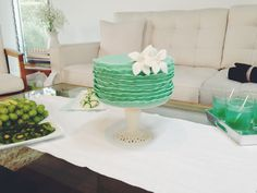 Mint ruffled cake for The Girls With Glasses