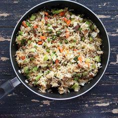 Vegan Garlic Fried Rice with Celery, Mushrooms, Broccoli, Bell Peppers, Carrots and Peas   http://veganricha.com #vegan #glutenfree