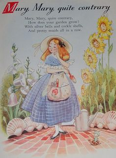 Beautifully Illustrated Nursery Rhyme Land - Childrens Book - Hilda Boswell, Mary Mary Quite Contrary Illustration