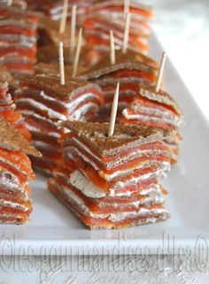 Salmon millefeuilles (for low carb & gluten free - use gluten free crackers  and keep the salmon & herbed cheese ... I use different varieties of Blue Diamond Almond Nut-Thins)