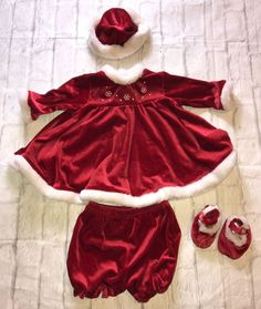 cfbdc281da82 Rose Cottage Red Velvet Holiday Dress Bloomers Hat Shoes Size 6-9 Months |  Clothing
