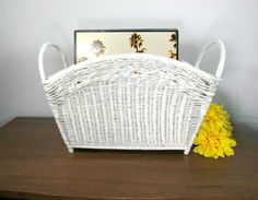 Vintage white woven wicker magazine holder would make an excellent addition to your cottage or beach decor! Multi purpose portable storage to take you from the bath to the pool or use as storage for y