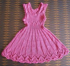 """What a darling dress for a little girl!! """"Pink Dream"""" knitted dress, free pattern, from The Daily Knitter. Size: Approximately 18 months – but the size is not difficult to change. Pattern is dividable by 10."""