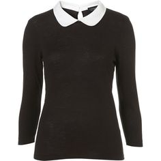 Knitted Contrast Peterpan Top (245 BRL) ❤ liked on Polyvore featuring tops, shirts, black, long sleeve tops, women, long sleeve collared shirts, collar top, long sleeve cotton shirts, long sleeve cotton tops and extra long sleeve shirts