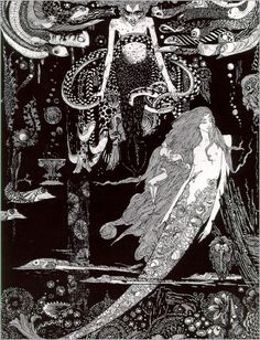 """""""'I know what you  want,' said the Sea Witch.""""The Little Sea Maid (The Little Mermaid) illustration by Harry Clarke from The Fairy Tales of Hans Christian Andersen, 1916"""