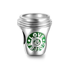 Silver Love Coffee Charm 925 Sterling Silver