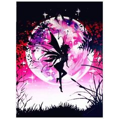Petite Pink Fairy Floating In The Night Spring Air - Full Round Full Square Diamonds On Full Pasting Area In This Sci FI Diamond Painting Kit - Select This Little Nymph Beauty In A Variety Of Canvas Sizes And EnjoyNew Diamond Painting Kits arrivi. Butterfly Fairy, Cross Paintings, Fairy Paintings, Beautiful Fairies, 5d Diamond Painting, Diamond Art, Diy Wall Art, Diy Kits, Painting Frames