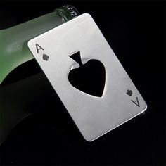 Silver Bar World Cup Party Supplies Ace Select Bottle Opener Ring and Ace Poker Shaped Cap Opener Lightweight Stainless Steel Credit Card Size Beer Soda Bottle Opener