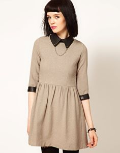Enlarge Sister Jane Tweed Skater Dress with Faux Leather Collar and Studs