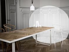 The Nobel table literally elevates the elegance of the aristocratic oak parquet floor to new levels. Redefined in a modern steel framework, this is the table for the decadent dandy of today. Dining Bench, Kitchen Dining, Oak Parquet Flooring, Interior Architecture, Interior Design, Cool Rooms, Dinner Table, Interior Inspiration, Furniture