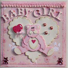 Baby girl teddy bear card by AthenasEmporium on Etsy, $6.50