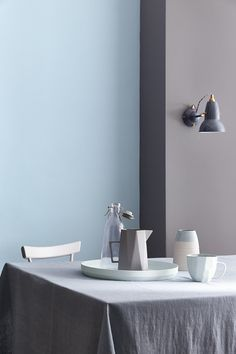 This pale blue paint is a heritage colour derived from classic century 'Jasperware' Wedgwood pottery. Browse our full range of luxury blue paint online. Little Greene Paint Company, Little Greene Farbe, Pantone, Peinture Little Greene, Pale Blue Paints, Warm Gray Paint, Warm Grey, Interior Walls, Interior Design