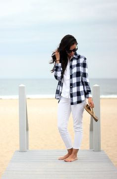 White on white, mixed with navy gingham shirt. #oldnavystyle