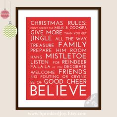 Christmas Rules Subway Art Typography Print - 8x10 other Sizes Available, 11x14 & 16x20. $13.95, via Etsy.