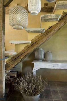 Bioarchitettura ad Anghiari   country stone wood stairway