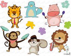 Jungle Animal Clip Art set 2 for scrapbooking clipart от memomint