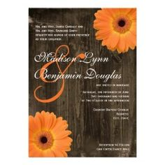 Rustic Barn Wood Orange Gerber Daisy Country Wedding Invitations | Rustic Country Wedding Invitations