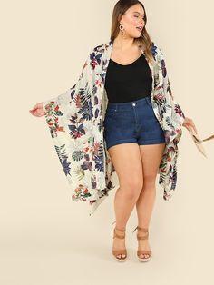 Shop Plus Tropical Print Open Front Kimono online. SheIn offers Plus Tropical Print Open Front Kimono & more to fit your fashionable needs. Plus Size Summer Outfit, Cute Summer Outfits, Plus Size Outfits, Casual Outfits, Spring Outfits, Chubby Fashion, Curvy Girl Fashion, Plus Size Fashion, Petite Fashion