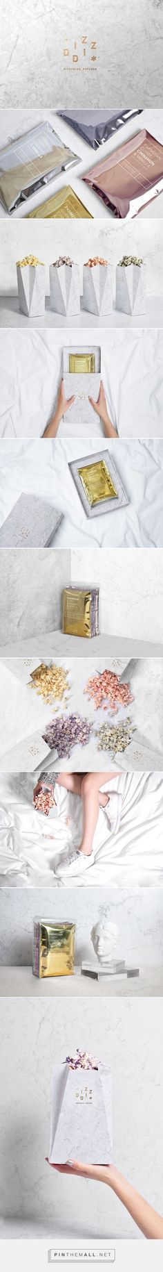 Art direction, branding and packaging for Diz-Diz Popcorn on Behance by Tatabi Studio Valencia, Spain curated by Packaging Diva PD. Yummy gourmet brand of premium popcorn.: