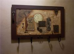 Entry Coat Hook Rack, In His Time, Mixed Media Collage OOAK. $275.00, via Etsy.