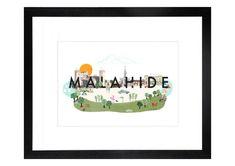 Malahide Scenic print by Helen Magee Hairy Fruit Art Fruit Art, Pigment Ink, Gouache, Watercolor Paper, Wooden Frames, Irish, Art Prints, Illustration, Gifts