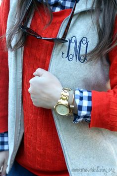 Fall'n for Monograms: layers, gingham, preppy  @J.Crew @Marley Medema Lilly @Danielle Johnston vines @southernprepco