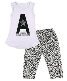 Walant Baby Little Girls Clothes Summer Tank TopLeopard Leggings Pants Set Outfit ** Details can be found by clicking on the image.Note:It is affiliate link to Amazon.