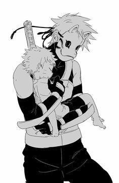 Kakashi Hatake e Naruto Uzumaki Kakashi Anbu, Naruto Uzumaki, Anime Naruto, Sasunaru, Art Naruto, Naruto Cute, Gaara, Manga Anime, Naruhina