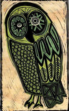 Green Barn Owl by CornflowerPress on Etsy, $95.00