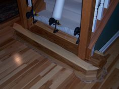 Built Custom Hickory Casing And Initial Stair Tread To Match The Hickory  Hardwood Flooring Installed Throughout