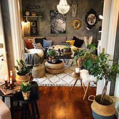 This chipper and energetic bohemian lounge room demonstrates that a little space front room configuration can likewise carry freshne. Bohemian Style Home, Bohemian House, Bohemian Decor, Modern Bohemian, Boho Gypsy, Hippie Boho, Bohemian Grove, Bohemian Interior Design, Boho Living Room