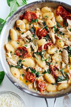 This EASY One Skillet Sun Dried Tomato Chicken and Gnocchi is the perfect weeknight dish that is tossed together with spinach, garlic and shredded asiago cheese and made in under 30 minutes! I want to try this with Trader Joe's cauliflower gnocchi Pasta Recipes, Cooking Recipes, Recipes With Gnocchi, Cooking Bacon, Dairy Free Gnocchi Recipes, Healthy Gnocchi Recipes, Skillet Recipes, Cooking Games, Salmon Recipes