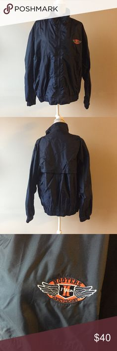 Oversized windbreaker Navy blue with hooters patch. Ventilated back panel. Size XL but could fit any size for a cute vintage look with some leggings and sneakers. Like new condition. Jackets & Coats