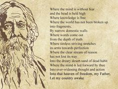 Multifaceted Poet-Writer-Philosopher, Gurudev Rabindranath Tagore who enriched Indian literature and penned down our National Anthem Indian Literature, Literature Books, Rabindranath Tagore Poem, Music Quotes, Quotes Quotes, Eh Poems, Tagore Quotes, Patriotic Poems, Indian Poets