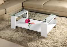 mdf and glass coffee table tempered glass legs and bottom shelf in high glossy Centre Table Design, Tea Table Design, Centre Table Living Room, Center Table, Table Pc, Glass Table, Modern Tv Wall Units, Steel Table Legs, Wardrobe Design Bedroom