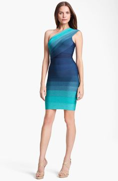 Herve Leger Ombré One Shoulder Dress