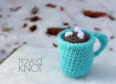 This crochet Christmas ornament is a cute gift for your favorite cocoa-lover