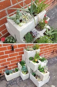 """Amazing DIY Ideas for Decorating Your Garden Uniquely"""". This is a garden decoration idea near the house that is very inspiring. Small Flower Gardens, Unique Gardens, Back Gardens, Amazing Gardens, Beautiful Gardens, Outdoor Gardens, Cinderblock Planter, Cinder Block Garden, Small Yard Landscaping"""